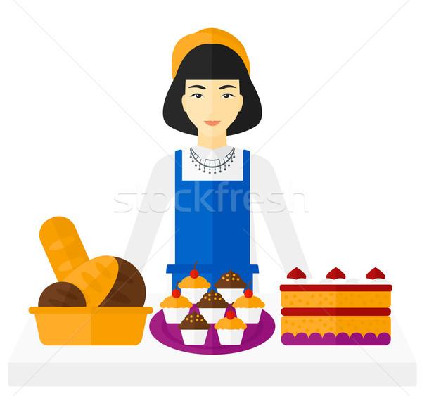 Sikeres kisvállalkozás tulajdonos ázsiai áll asztal Stock fotó © RAStudio
