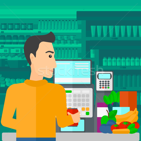Cashier at supermarket checkout. Stock photo © RAStudio
