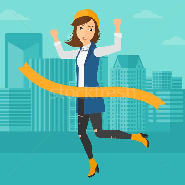 Mujer de negocios mujer ejecutando línea Foto stock © RAStudio