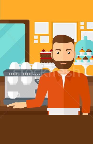 Бариста Постоянный кофеварка человека борода Сток-фото © RAStudio