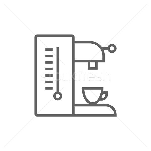 кофеварка линия икона уголки веб мобильных Сток-фото © RAStudio