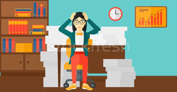 Rozpacz kobieta posiedzenia biuro asian tabeli Zdjęcia stock © RAStudio