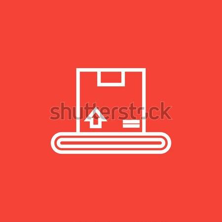 Conveyor belt for parcels line icon. Stock photo © RAStudio
