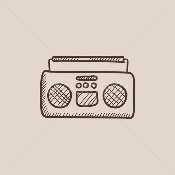 радио кассету игрок эскиз икона веб Сток-фото © RAStudio