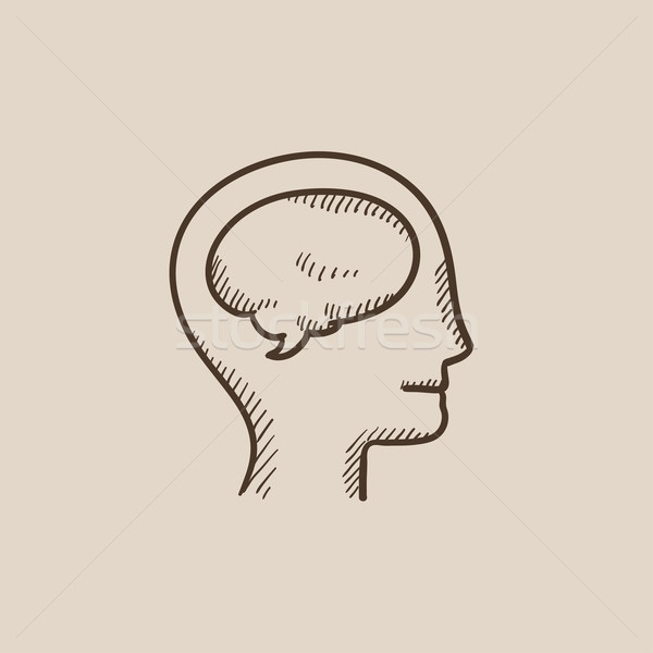 Umani testa cervello sketch icona web Foto d'archivio © RAStudio