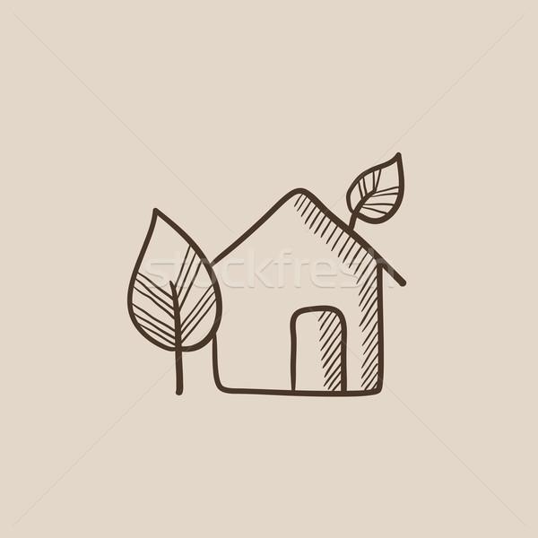 дома эскиз икона веб мобильных Инфографика Сток-фото © RAStudio