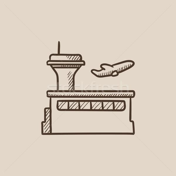 Plane taking off sketch icon. Stock photo © RAStudio