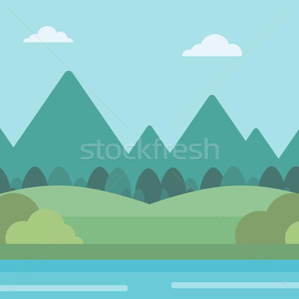 Stock fotó: Tájkép · hegyek · folyó · vektor · terv · illusztráció