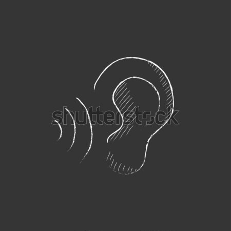 Ear and sound waves. Drawn in chalk icon. Stock photo © RAStudio
