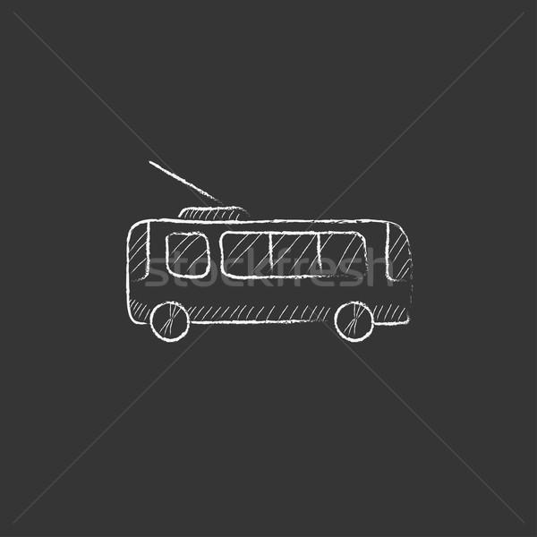 Trolleybus. Drawn in chalk icon. Stock photo © RAStudio
