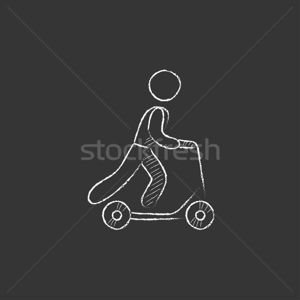 Man riding kick scooter. Drawn in chalk icon. Stock photo © RAStudio