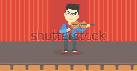 Człowiek gry skrzypce broda etapie Zdjęcia stock © RAStudio