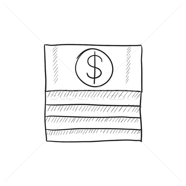 Stack of dollar bills sketch icon. Stock photo © RAStudio