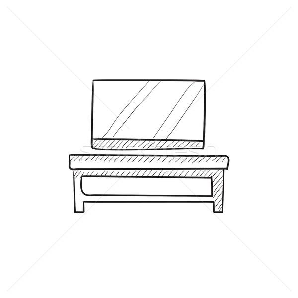 Foto stock: Tela · plana · tv · moderno · suporte · esboço · ícone