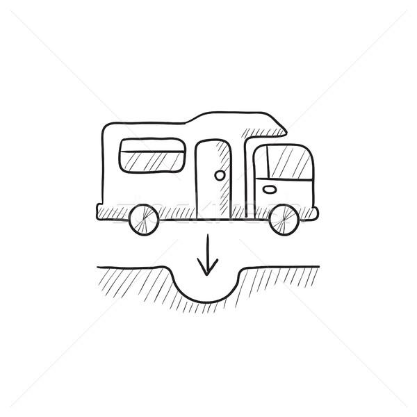 Motorhome and sump sketch icon. Stock photo © RAStudio