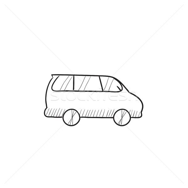 Mikrobusz rajz ikon vektor izolált kézzel rajzolt Stock fotó © RAStudio