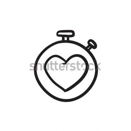 Сток-фото: секундомер · сердце · знак · эскиз · икона · вектора
