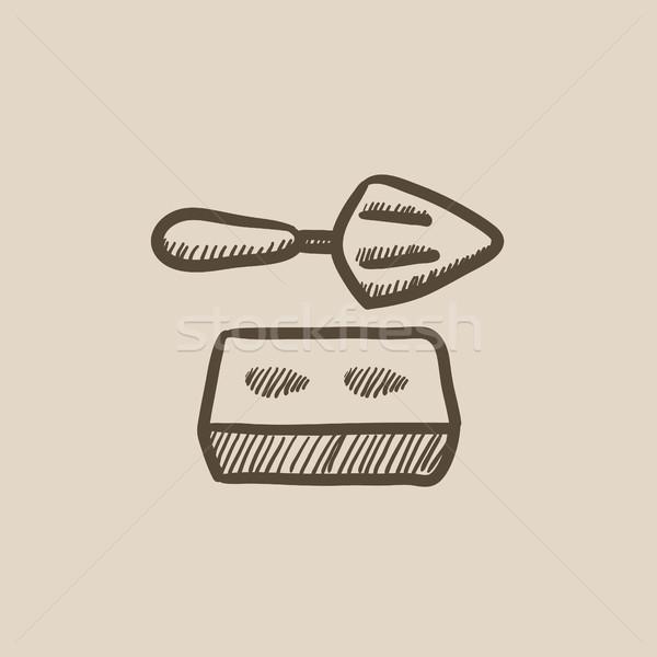 Spatola mattone sketch icona vettore isolato Foto d'archivio © RAStudio