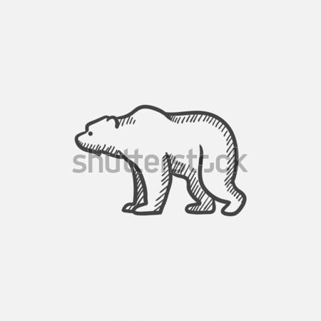 Medve rajz ikon vektor izolált kézzel rajzolt Stock fotó © RAStudio