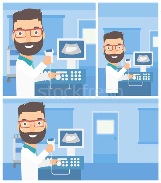 Mannelijke ultrageluid arts jonge mannelijke arts Stockfoto © RAStudio