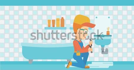 Сток-фото: человека · раковина · азиатских · водопроводчика · сидят