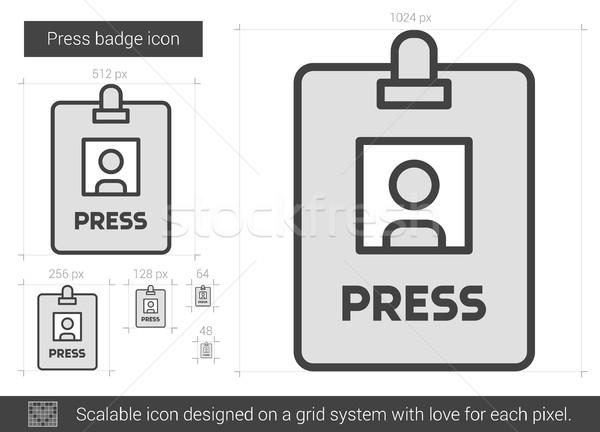 Stock photo: Press badge line icon.