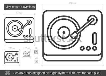 Winylu gramofonu line ikona wektora odizolowany Zdjęcia stock © RAStudio