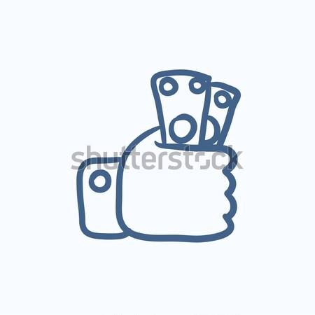 Stockfoto: Hand · geld · schets · icon · vector