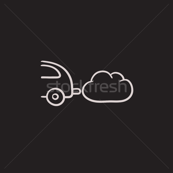 Car spewing polluting exhaust sketch icon. Stock photo © RAStudio