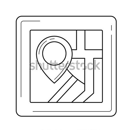 Stock photo: Map with pointer sketch icon.