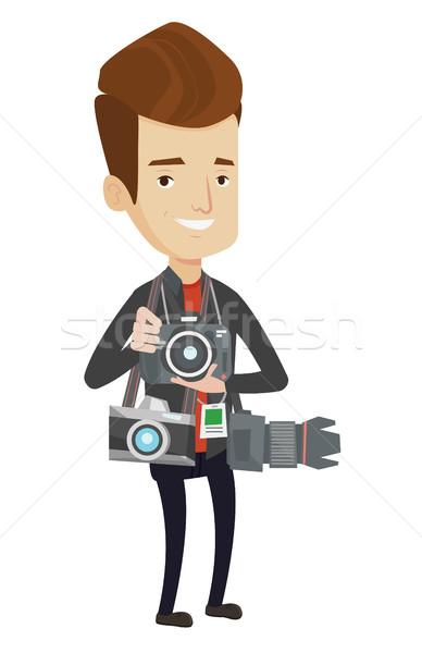 фотограф фото Папарацци многие камер Сток-фото © RAStudio