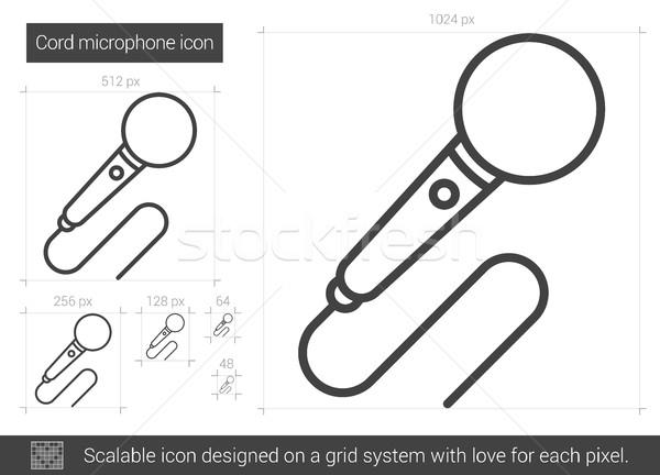 Cord microphone line icon. Stock photo © RAStudio
