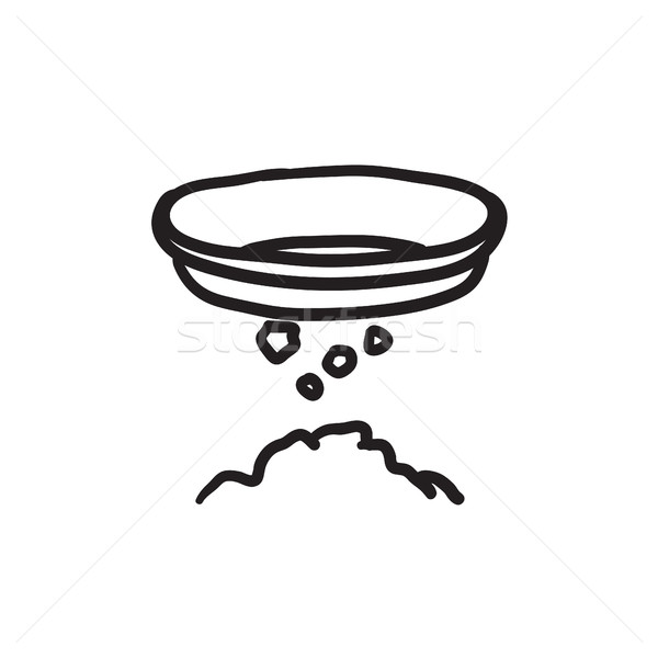 Bowl for sifting gold sketch icon. Stock photo © RAStudio
