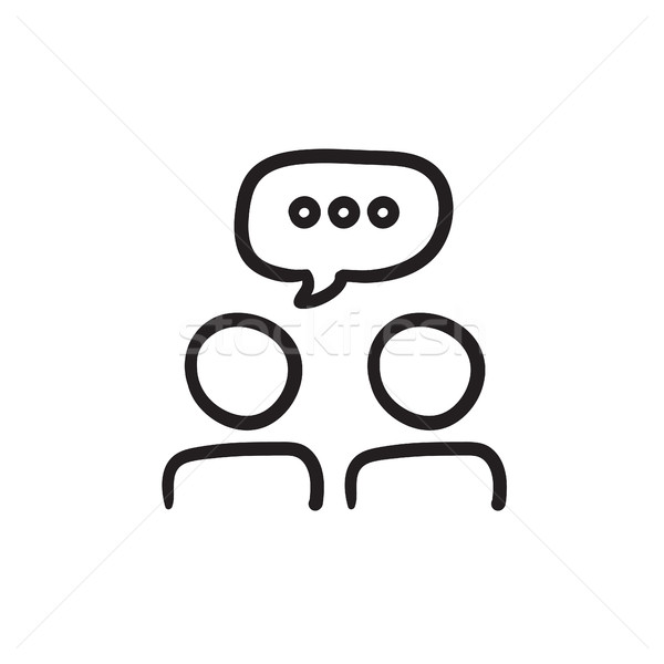 People with speech square above heads sketch icon. Stock photo © RAStudio