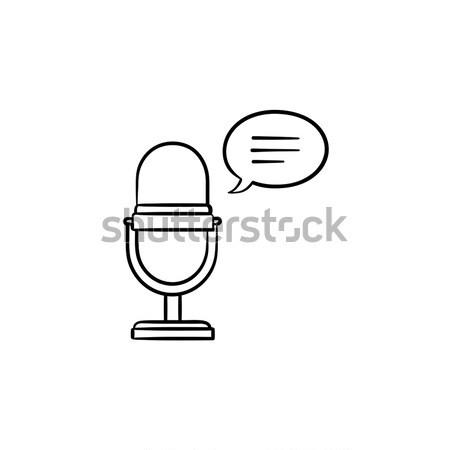 Mikrofon konuşma kare kroki ikon vektör Stok fotoğraf © RAStudio