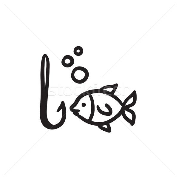 Fisch Haken Skizze Symbol Vektor isoliert Stock foto © RAStudio