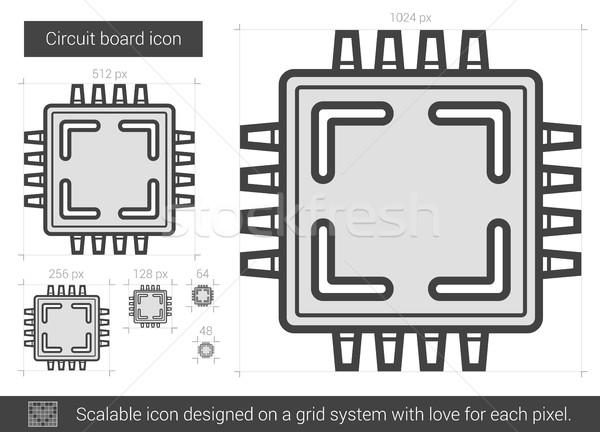Placa de circuito linha ícone vetor isolado branco Foto stock © RAStudio