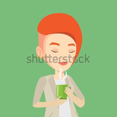 женщину Кубок кофе кавказский счастливым Сток-фото © RAStudio