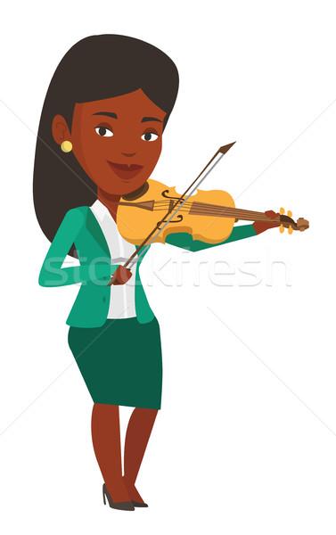 Kadın oynama keman müzisyen ayakta genç Stok fotoğraf © RAStudio