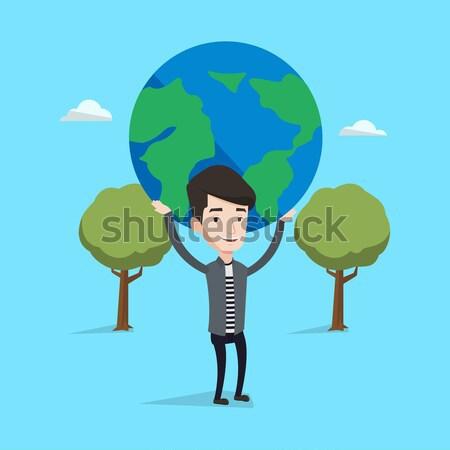 ビジネスマン 世界中 アジア ビッグ 地球 ストックフォト © RAStudio