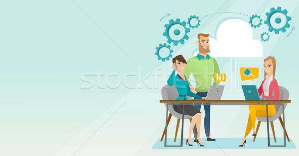 üzleti megbeszélés iroda üzletemberek laptopok megbeszélés kaukázusi Stock fotó © RAStudio