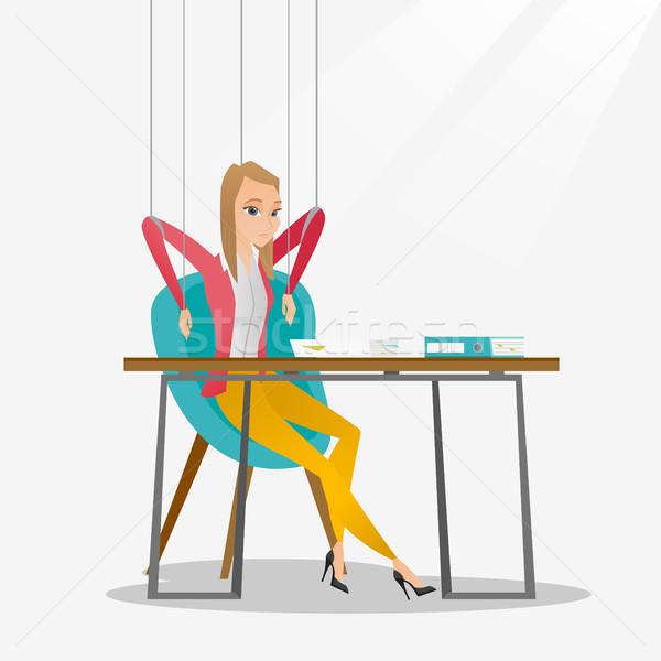 üzletasszony marionett kötelek dolgozik kaukázusi akasztás Stock fotó © RAStudio