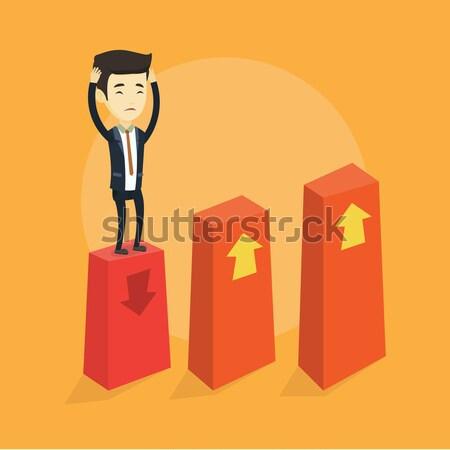 Becsődölt diagram lefelé kaukázusi ijedt üzletasszony Stock fotó © RAStudio