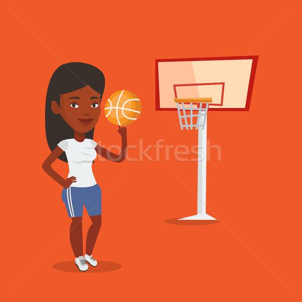 молодые мяча улыбаясь баскетбол Сток-фото © RAStudio