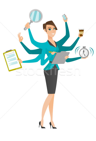 Business woman coping with multitasking. Stock photo © RAStudio