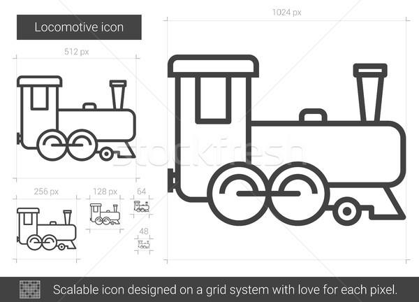 локомотив линия икона вектора изолированный белый Сток-фото © RAStudio