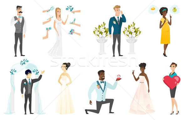 Bride and groom vector illustrations set. Stock photo © RAStudio