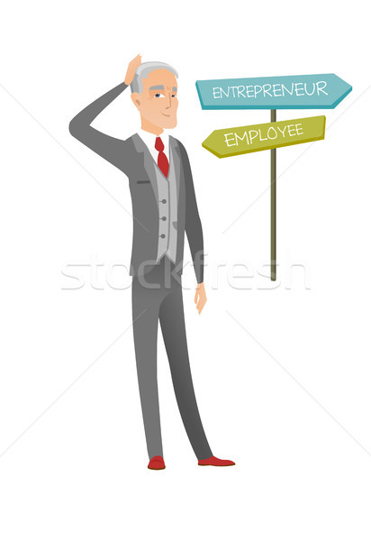 Confused caucasian man choosing career pathway. Stock photo © RAStudio