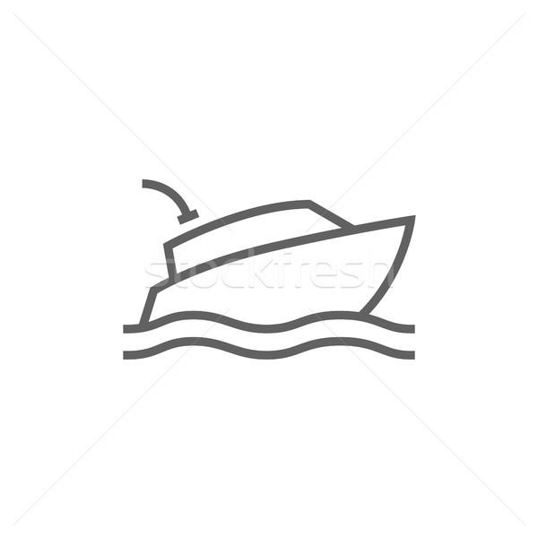 яхта линия икона уголки веб мобильных Сток-фото © RAStudio
