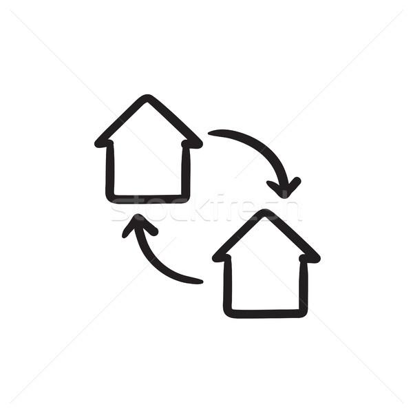 Ház csere rajz ikon vektor izolált Stock fotó © RAStudio
